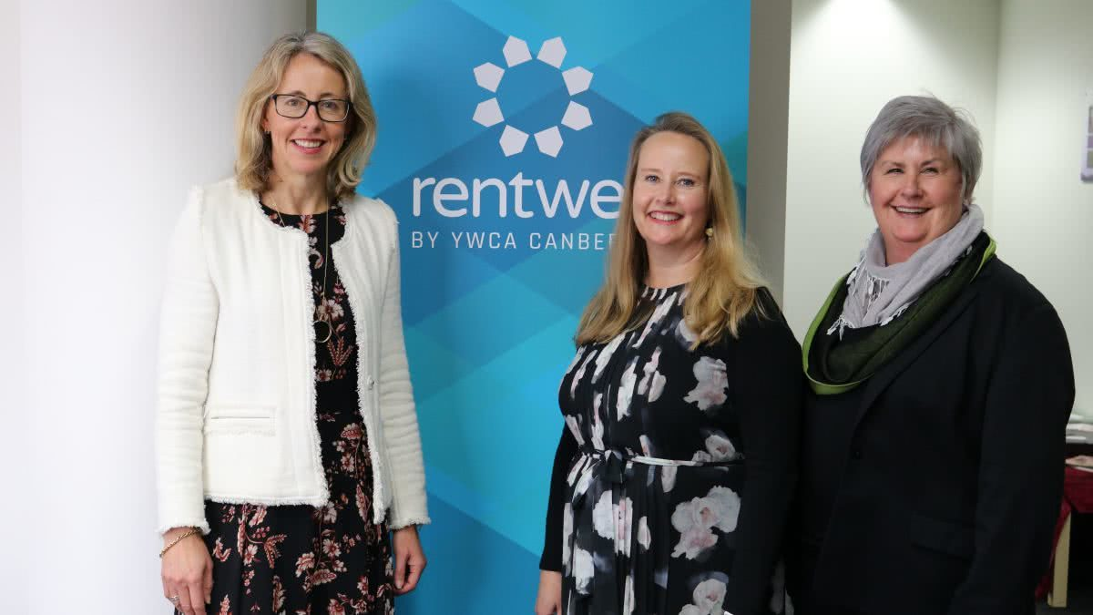 Snow Foundation's Georgina Byron with YWCA Canberra's Frances Crimmins